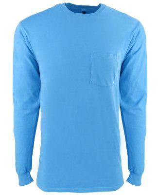 184 7451 Inspired Dye Long Sleeve Pocket Crew OCEAN