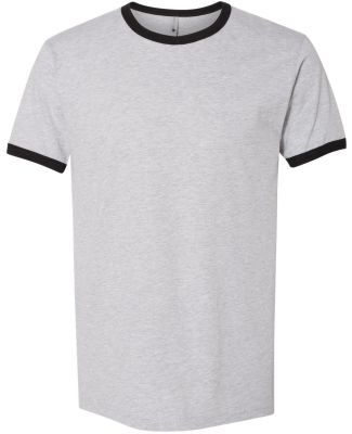 Next Level 3604 Unisex Fine Jersey Ringer Tee HTHR GRAY/ BLACK