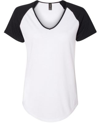 49 6770VL Ladies' Tri-Blend Raglan T-Shirt White/Black