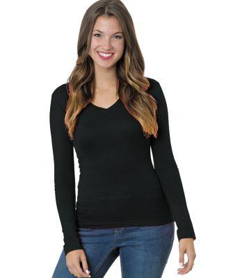 301 3415 Women's Long Sleeve Deep V-Neck Black