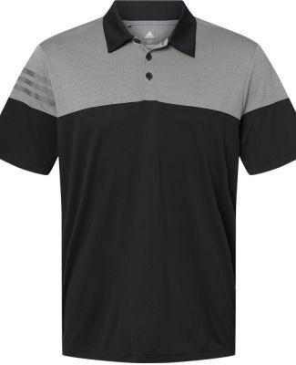 Adidas A213 Heather 3-Stripes Block Sport Shirt Black/ Vista Grey
