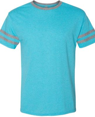Jerzees 602MR Triblend Ringer Varsity T-Shirt Caribbean Blue/ Oxford