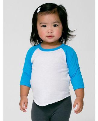 American Apparel BB053W Infant Poly-Cotton 3/4-Sle WHT/ NE HT BLU