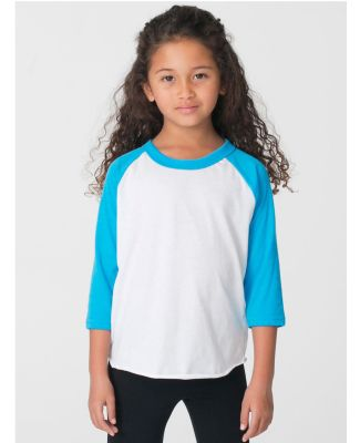 American Apparel BB153W Toddler Poly-Cotton 3/4-Sl WHT/ NEO HTR BLU