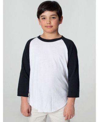 American Apparel BB253W Youth Poly-Cotton 3/4-Slee WHITE/ BLACK