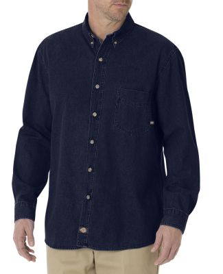 WL300 Dickies Long Sleeve Button Down Denim Shirt  RINSED INDIGO