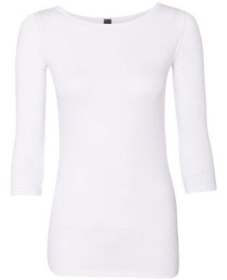 Anvil 2455L Women's Stretch Three-Quarter Sleeve T White