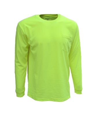 Bright Shield B146 Adult Long-Sleeve Pocket Tee SAFETY GREEN