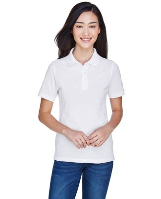 Harriton M265W Ladies' 5.6 oz. Easy Blend™ Polo WHITE