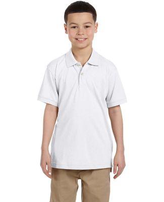 Harriton M265Y Youth 5.6 oz. Easy Blend™ Polo WHITE