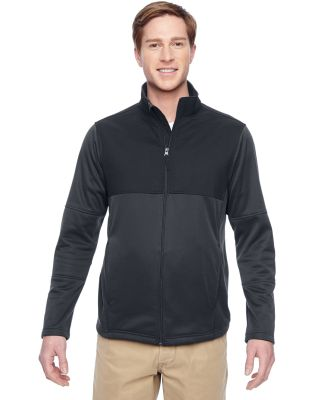 Harriton M745 Men's Task Performance Fleece Full-Z DK CHARCOAL/ BLK