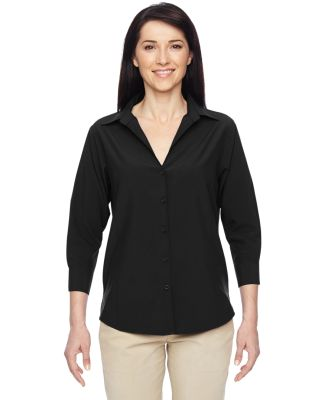 Harriton M610W Ladies' Paradise 3/4-Sleeve Perform BLACK