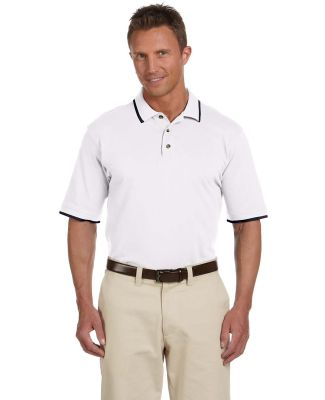 Harriton M210 Adult 6 oz. Short-Sleeve Piqué Polo WHITE/ NAVY