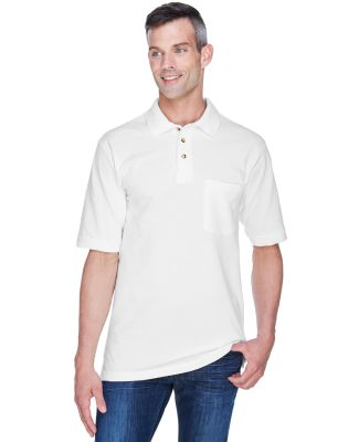Harriton M200P Adult 6 oz. Ringspun Cotton Piqué  WHITE
