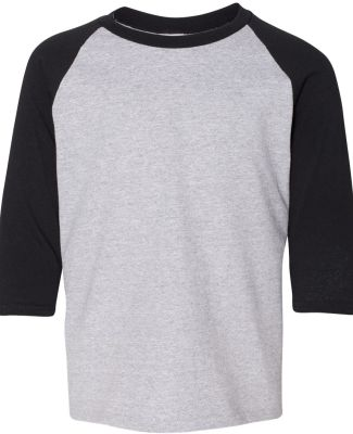 Gildan 5700B Heavy Cotton Youth Raglan Tee SPORT GREY/ BLK