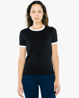 American Apparel BB310W Women's Poly-Cotton Ringer BLACK/ WHITE