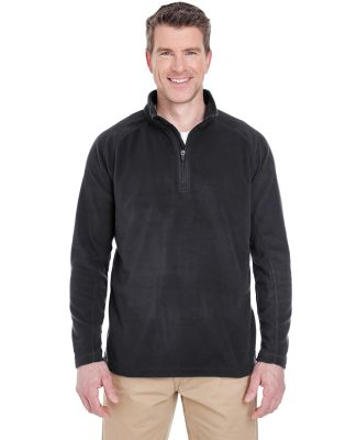 UltraClub 8180 Adult Cool & Dry Quarter-Zip Microf BLACK
