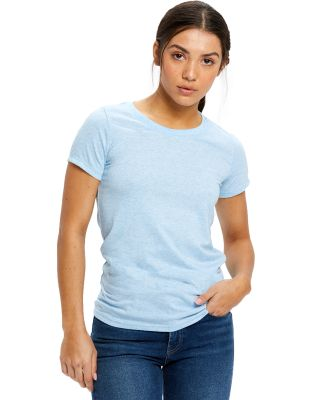 0222 US Blanks Ladies Triblend T-Shirt Tri-light blue
