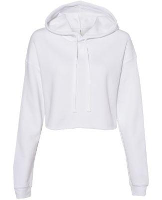 Bella + Canvas 7502 Women's Cropped Fleece Hoodie WHITE