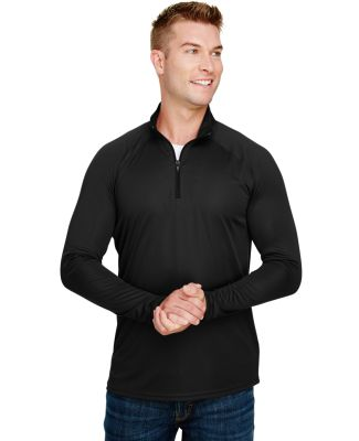 A4 Apparel N4268 Adult Daily Polyester 1/4 Zip BLACK