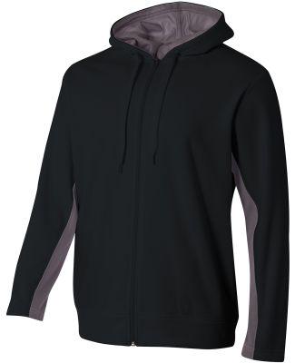 A4 Apparel NB4251 Youth Tech Fleece Full-Zip Hoode Black/Graphite