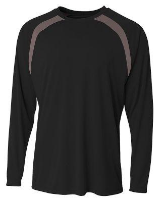 A4 Apparel N3003 Men's Spartan Long Sleeve Color B Black/Graphite