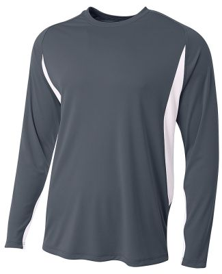 A4 Apparel N3183 Men's Long Sleeve Color Block T-S Graphite/White