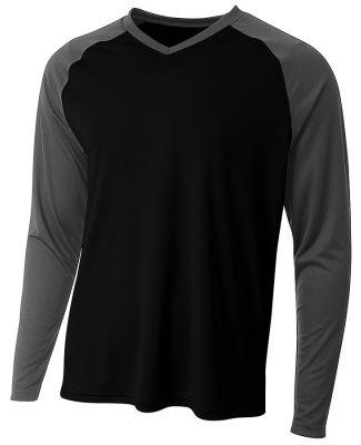 A4 Apparel N3374 Men's Long Sleeve Strike Raglan T Black/Graphite