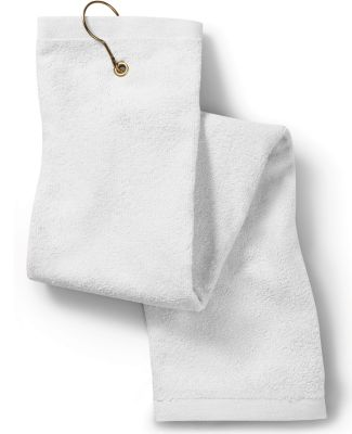 Deluxe Tri-Fold Hand Towel with Grommet and Hook White