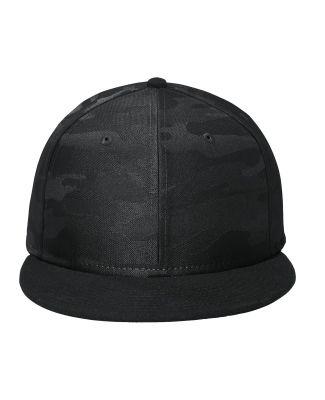 New Era NE407     Camo Flat Bill Snapback Cap Black/Black Ca