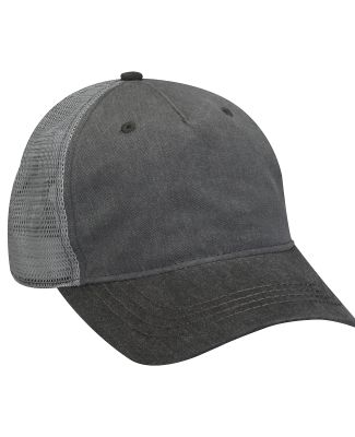 Pigment-Dyed Twill & Mesh 5 Panel Trucker Cap Charcoal / Black / Grey