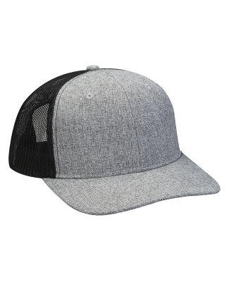 Heather Woven/Soft Mesh Trucker Cap Charcoal / Black