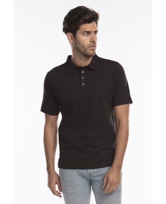 Men's Jersey Interlock Polo T-Shirt Black