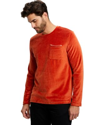 Unisex Velour Long Sleeve Pocket T-Shirt Rust