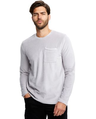 Unisex Velour Long Sleeve Pocket T-Shirt Silver