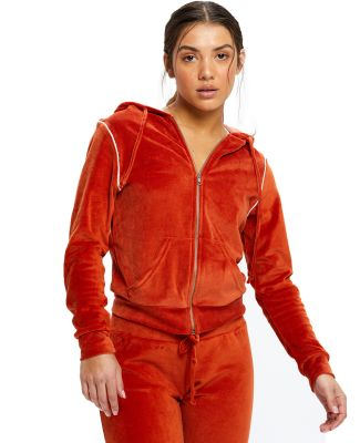 US Blanks / US565 Women's Plush Velour Zip Hoody Rust