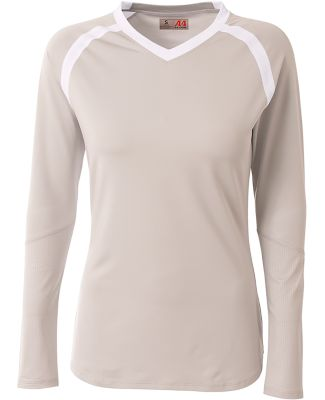 A4 Apparel NW3020 Ladies' Ace Long Sleeve Volleyba Silver/White
