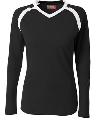 A4 Apparel NW3020 Ladies' Ace Long Sleeve Volleyba Black/White