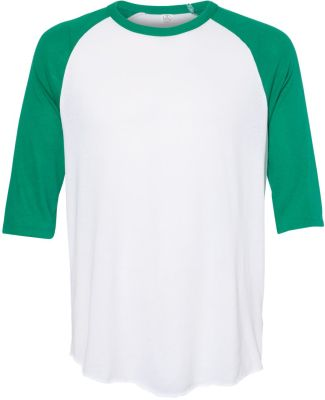 Alternative Apparel 5127 Vintage Jersey Baseball T WHITE/ GREEN