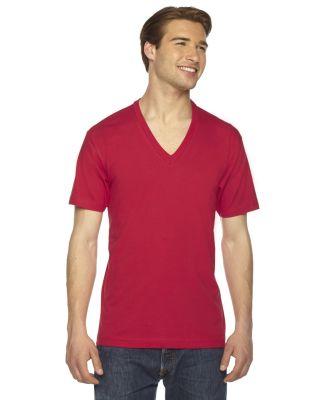 American Apparel 2456 Unisex Fine Jersey V-Neck Te RED