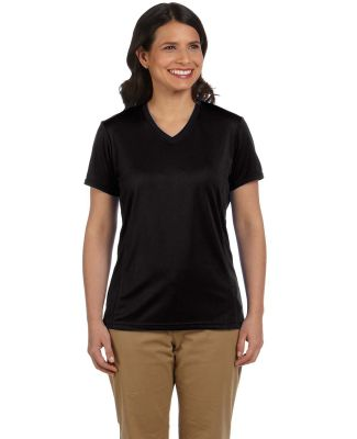 Harriton M320W Ladies' 4.2 oz. Athletic Sport T-Sh BLACK