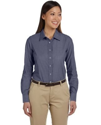 Harriton M555W Ladies' 3.48 oz. Chambray DK BLUE CHAMBRAY