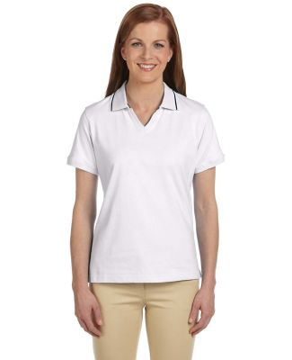 Harriton M140W Ladies' 5.9 oz. Cotton Jersey Short WHITE/NAVY