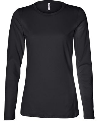 BELLA 6450 Womens Long Sleeve Missy T-Shirt BLACK