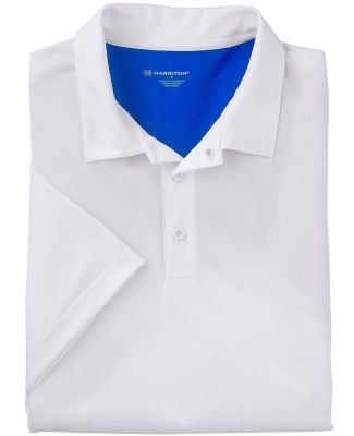 Harriton M356 Men's Back Blocked Micro-Piqué Polo WHITE/ TR ROYAL