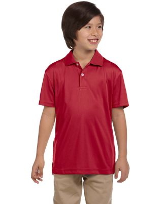 Harriton M353Y Youth Double Mesh Polo RED