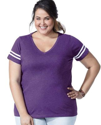 LA T 3837 Curvy Collection Women's Vintage Football T-Shirt Catalog