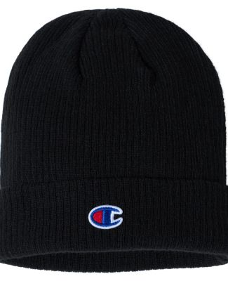 Champion Clothing CS4003 Ribbed Knit Cap Black