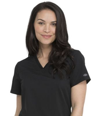 Dickies Medical DK870 -V-Neck Top With Rib Knit Pa Black