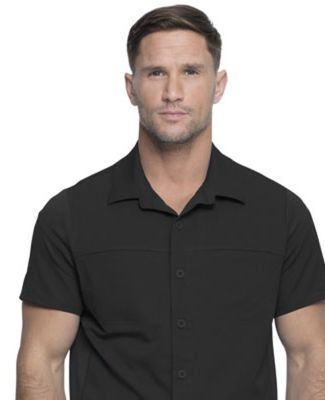 Dickies Medical DK820 -Men's Button Front Collar S Black
